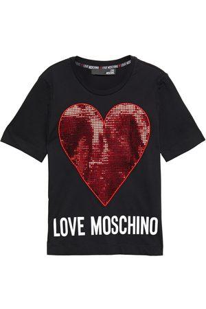 Love Moschino Women Short Sleeve - Woman Appliquéd Printed Cotton-jersey T-shirt Size 38