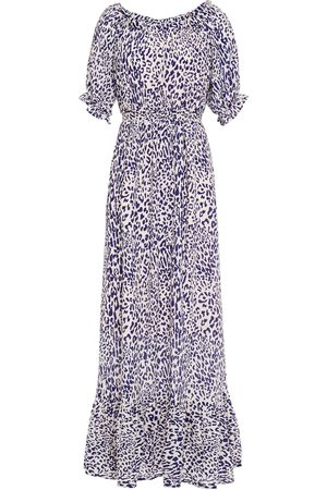 Baum und Pferdgarten Women Printed Dresses - Woman Abril Gathered Leopard-print Crepe Maxi Dress Animal Print Size 34