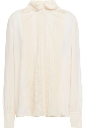 See by Chloé See By Chloé Woman Lace-trimmed Pintucked Crepe De Chine Blouse Cream Size 34