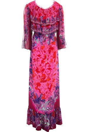 Camilla Woman Crystal-embellished Printed Silk-georgette Maxi Dress Fuchsia Size S