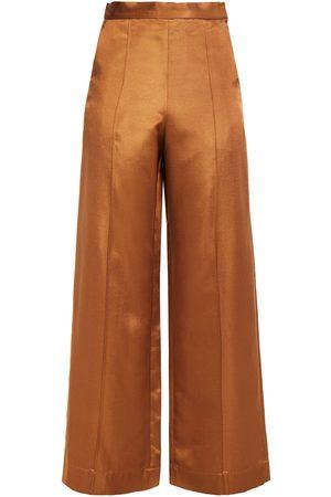 BAUM UND PFERDGARTEN Women Wide Leg Trousers - Woman Satin-crepe Wide-leg Pants Copper Size 34
