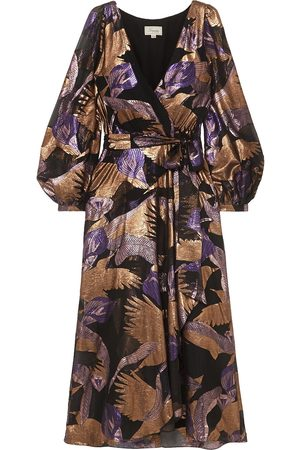 TEMPERLEY LONDON Woman Kitty Wrap-effect Metallic Fil Coupé Chiffon Midi Dress Size 10