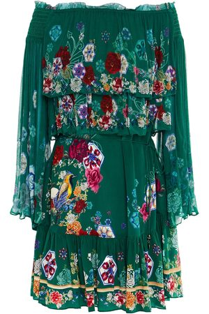 Camilla Woman Off-the-shoulder Tiered Printed Silk-georgette Mini Dress Emerald Size S