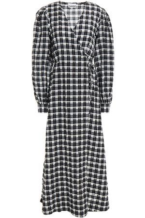 GANNI Women Midi Dresses - Woman Gingham Seersucker Midi Wrap Dress Size 34