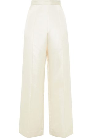 BAUM UND PFERDGARTEN Woman Satin-crepe Wide-leg Pants Ivory Size 36