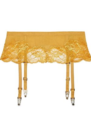 La Perla Woman Ambra Corded Lace And Stretch-tulle Suspender Belt Saffron Size 2