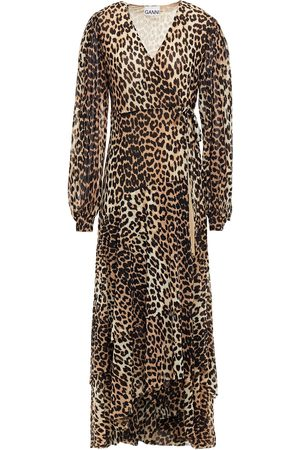 Ganni Women Printed Dresses - Woman Leopard-print Stretch-mesh Midi Wrap Dress Animal Print Size 36