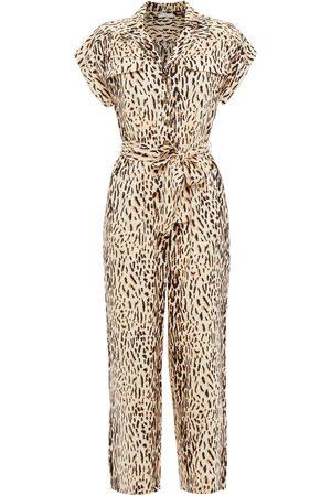 JOIE Woman Jailee Cropped Leopard-print Twill Jumpsuit Ecru Size L
