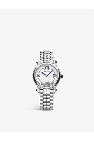Chopard Women Watches - 278610-3001 Happy Sport stainless-steel and 0.35ct diamond self-winding mechanical watch