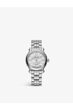 Chopard Women Watches - 278608-3002 Happy Sport stainless-steel and 0.25ct diamond self-winding mechanical watch