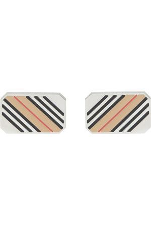 Burberry Men Cufflinks - Palladium-Plated Icon Stripe Cufflinks