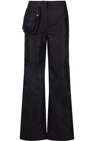 Marine Serre Women Wide Leg Trousers - Pouch pocket flared trousers
