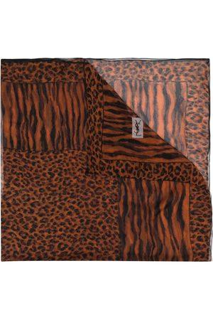 Yves Saint Laurent Women Scarves - Leopard print sheer silk scarf