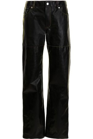 Peter Do Women Leather Trousers - Contrast-stitching leather trousers
