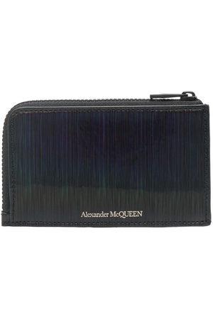 Alexander McQueen Men Purses & Wallets - Textured logo-print zipped cardholder