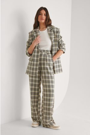 NA-KD Straight Checked Suit Pants - Multicolor