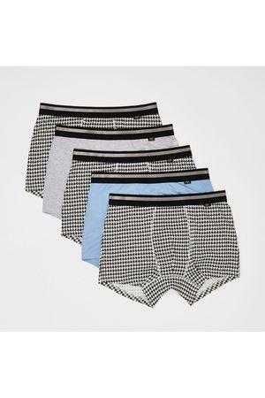 River Island Men Swim Shorts - Mens dogtooth trunks 5 pack