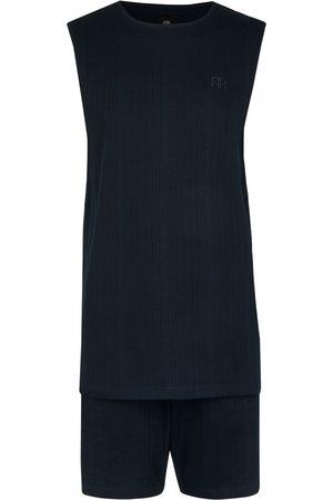River Island Men Pyjamas - Mens Navy ribbed vest and shorts set