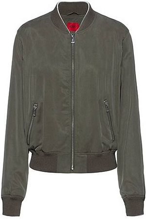 HUGO BOSS Women Summer Jackets - Relaxed-fit blouson jacket with embroidered Japanese cranes