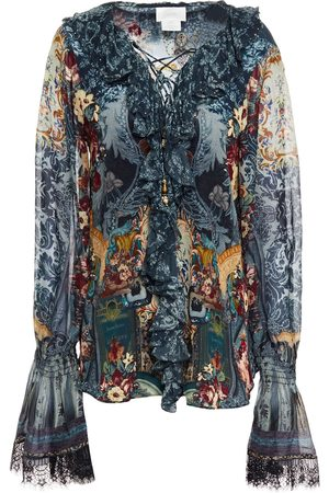 Camilla Woman Lace-up Ruffled Embellished Printed Silk Crepe De Chine Blouse Petrol Size M