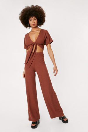 NASTY GAL Womens Ribbed V Neck Tie Front Crop Top