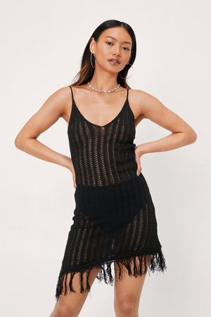 NASTY GAL Womens Petite Asymmetric Fringe Hem Crochet Dress