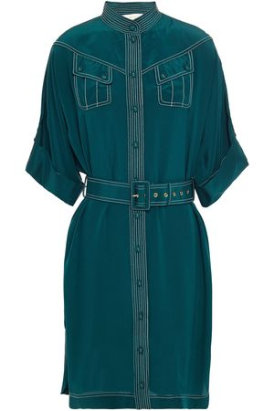 ZIMMERMANN Woman Embroidered Belted Silk Crepe De Chine Dress Emerald Size 0