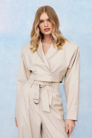 NASTY GAL Womens Padded Shoulder Double Breasted Cropped Blazer