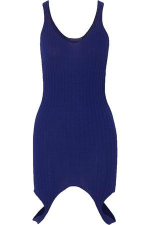 IOANNES Woman Ribbed-knit Mini Dress Indigo Size 36