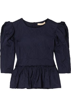 BROCK COLLECTION Woman Metallic Crinkled-twill Peplum Blouse Navy Size 00