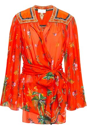 Camilla Woman Cinema Paradiso Embellished Printed Silk-chiffon Wrap Blouse Tomato Size L