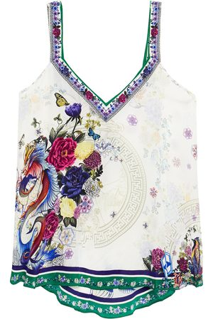 Camilla Woman Crystal-embellished Printed Silk Crepe De Chine Top Ivory Size S
