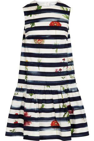 Oscar de la Renta Striped cotton-blend midi dress