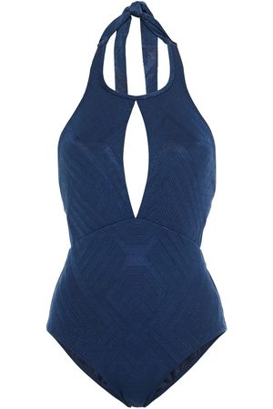 JETS Woman Cutout Stretch-jacquard Halterneck Swimsuit Navy Size 10