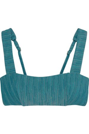 JETS Woman Radiance Crochet-knit Bikini Top Teal Size 10