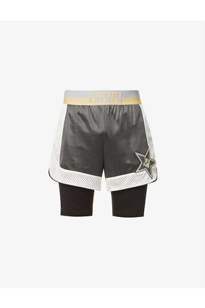 Fendi Brand-appliqué relaxed-fit stretch-woven shorts