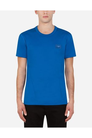 Dolce & Gabbana Men Short Sleeve - T-Shirts and Polos - Cotton t-shirt with logoed plaque male 44