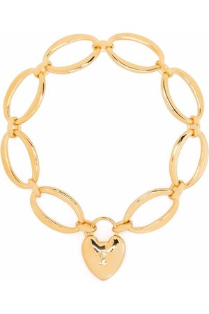 Dinny Hall Handmade large oval link chain heart locket bracelet
