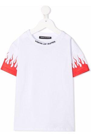 Vision Of Super Kids Boys Short Sleeve - Flame-print cotton T-shirt