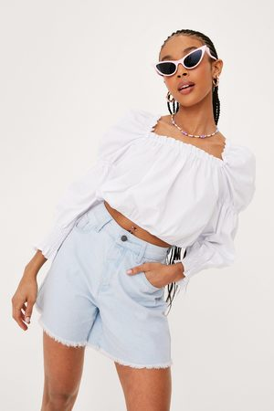 NASTY GAL Womens Puff Sleeve Square Neck Crop Top