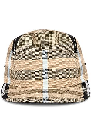 Burberry TB Check Camp Cap in Dusty Sand