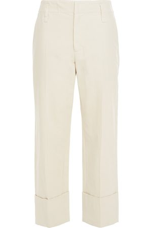 Brunello Cucinelli Women Trousers - Woman Cropped Cotton And Linen-blend Twill Straight-leg Pants Ecru Size 40