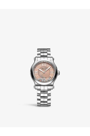Chopard 278559-3025 Happy Sport stainless-steel and 0.35ct diamond self-winding mechanical watch