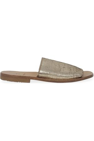 Moma Women Casual Shoes - Gold Leather Slip On Loafer