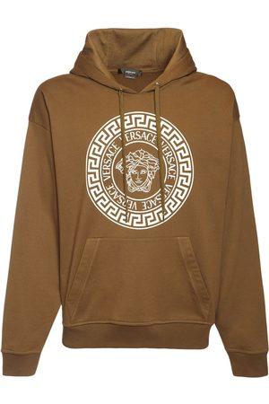 VERSACE Men Sweatshirts - Medusa Print Cotton Sweatshirt Hoodie