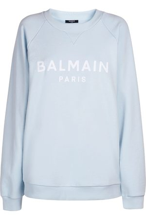 Balmain Women Sweatshirts - Logo Printed Cotton Sweatshirt