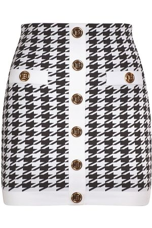 Balmain Knit Viscose Buttoned Mini Skirt