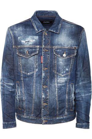 Dsquared2 Men Denim Jackets - Oversize Ripped Cotton Denim Jacket
