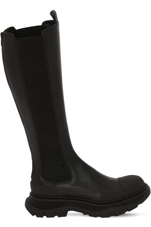 Alexander McQueen 40mm Tread Slick Leather Tall Boots