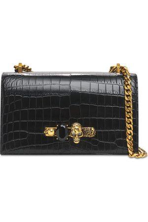 Alexander McQueen Embossed Leather Jeweled Shoulder Bag